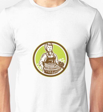 Organic Female Farmer Farm Produce Harvest Woodcut Unisex T-Shirt