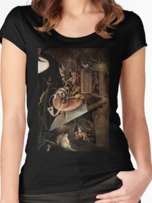 Monsters eating a Knight by Hieronymus Bosch Women's Fitted Scoop T-Shirt
