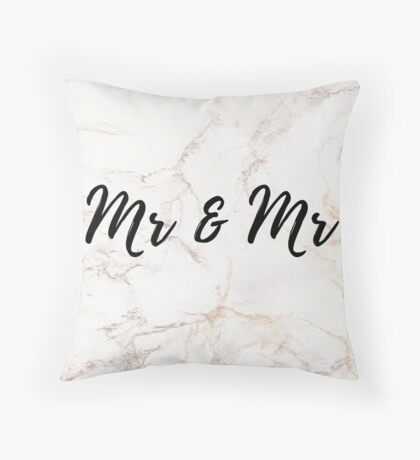 Pink Marble Effect - Mr & Mr Throw Pillow