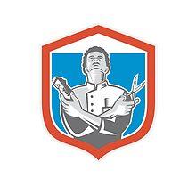 Barber Hair Clipper Scissors Shield Retro by patrimonio