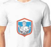 Barber Hair Clipper Scissors Shield Retro Unisex T-Shirt