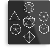 Dot Work Role Playing Dice - White  Metal Print