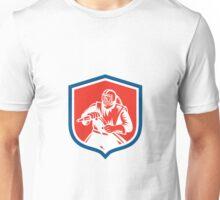 Sandblaster Sandblasting Hose Shield Woodcut Unisex T-Shirt