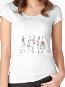 Elegant Spring Style Watercolour Illustration Women's Fitted Scoop T-Shirt