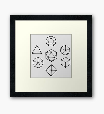 Dot Work Role Playing Dice - Black Framed Print