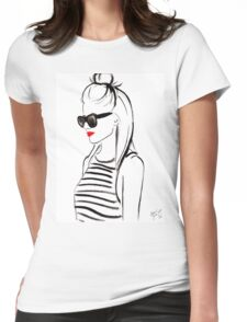 Half Up Topknot Watercolour Illustration Womens Fitted T-Shirt