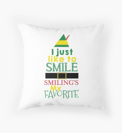 Smilings My Favorite - Buddy the Elf Throw Pillow