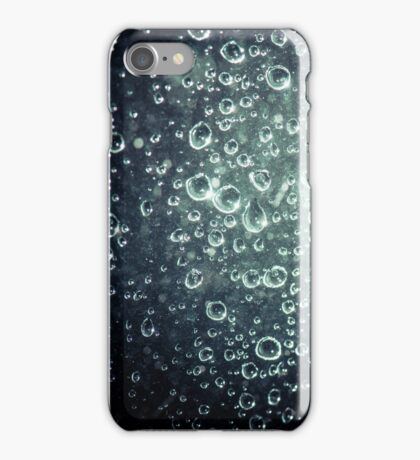 Rain Drops on Blue Glass iPhone Case/Skin
