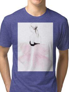 Pink Watercolour Illustration Tri-blend T-Shirt