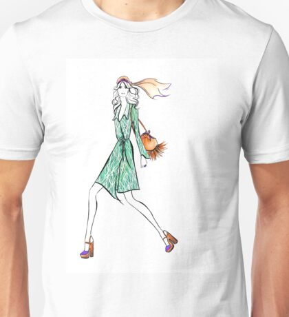 Seventies Style Watercolour Illustration Unisex T-Shirt