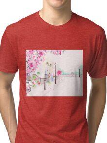Strolling through Primrose Hill Watercolour Illustration Tri-blend T-Shirt