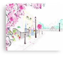 Strolling through Primrose Hill Watercolour Illustration Canvas Print