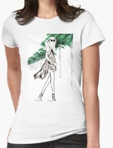 Strolling through The Hills Watercolour Illustration Womens Fitted T-Shirt