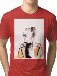 Top Ponytail Watercolour Illustration Tri-blend T-Shirt