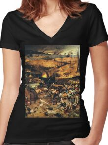 The Triumph of Death by Pieter Bruegel Women's Fitted V-Neck T-Shirt