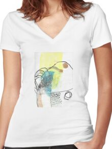 Waterfall Cute Cool Abstract Chill Relaxing Art Women's Fitted V-Neck T-Shirt