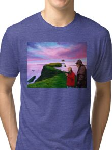Lighthouse at Mykines Faroe Islands Painting Tri-blend T-Shirt