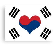Korean Flag Heart Canvas Print