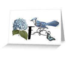 Bluebird Vintage Floral Initial F Greeting Card