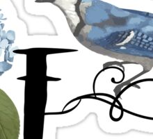 Bluebird Vintage Floral Initial F Sticker