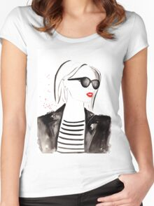 Parisian Stripes Watercolour Illustration Women's Fitted Scoop T-Shirt