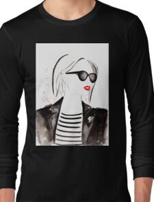 Parisian Stripes Watercolour Illustration Long Sleeve T-Shirt