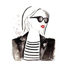 Parisian Stripes Watercolour Illustration Photographic Print