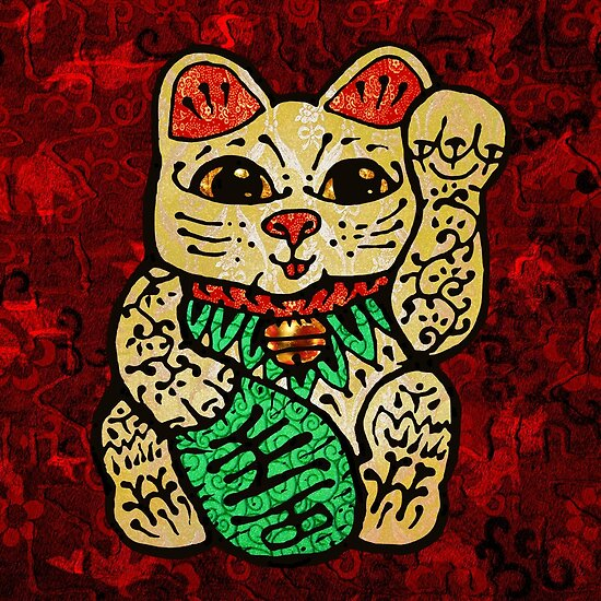 'Shiny Lucky Cat' by ellejayerose