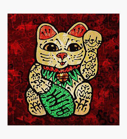 'Shiny Lucky Cat' Photographic Print