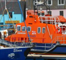 Lifeboat on Board, Stornoway Harbour, Western Isles, Scotland Sticker