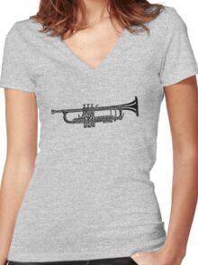Happy jazz trumpet sketch Women's Fitted V-Neck T-Shirt