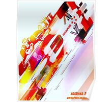 """SINGAPORE MARINA BAY"" Grand Prix Auto Racing Print Poster"