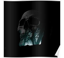 Skull Creepy Forest Double Exposure Scary Poster