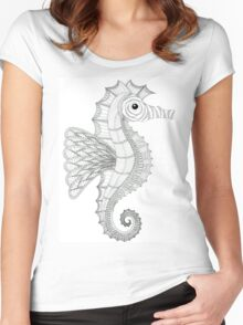 Seahorse - line work Women's Fitted Scoop T-Shirt