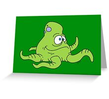Green Squidley Greeting Card