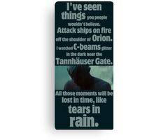 like tears in rain - blade runner quote  Canvas Print