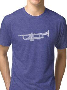 Happy jazz trumpet sketch Tri-blend T-Shirt
