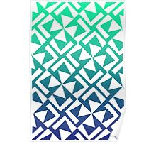 Green and Blue Geometric Pattern Poster