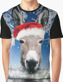 Donkey wearing a Christmas hat Graphic T-Shirt