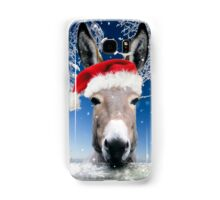 Donkey wearing a Christmas hat Samsung Galaxy Case/Skin