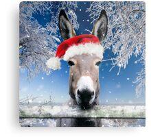 Donkey wearing a Christmas hat Metal Print
