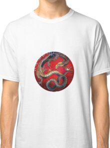 Embossed Hokusai Dragon Sticker Seal Very High Quality Classic T-Shirt