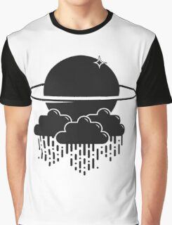 Planet and clouds black and white space graphic Graphic T-Shirt