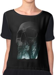 Skull Creepy Forest Double Exposure Scary Chiffon Top