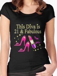 21 & FABULOUS SHOE QUEEN Women's Fitted Scoop T-Shirt