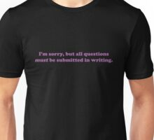 Willy Wonka - All questions must be submitted in writing - Purple Font Unisex T-Shirt