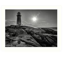 B&W of Iconic Lighthouse at Peggys Cove, Nova Scotia Art Print