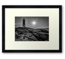 B&W of Iconic Lighthouse at Peggys Cove, Nova Scotia Framed Print