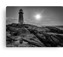 B&W of Iconic Lighthouse at Peggys Cove, Nova Scotia Canvas Print
