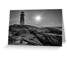 B&W of Iconic Lighthouse at Peggys Cove, Nova Scotia Greeting Card